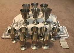 Set Of 14 Woodbury Pewter Goblets 2 Different Sizes Euc