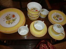 Somerset Georges Briard Yellow Floral Fruits China 20 Piece Dinner Set