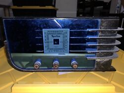 """Vintage Sparton Model 557 Blue Radio 1936 """"the Sled"""" In Rare Working Condition"""
