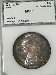 1965 Canada Silver Dollar Certified Toned Ms63 Sand039m Beads Bl5