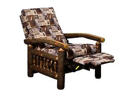 Amish Rustic Hickory Recliner Chair Upholstered Cabin Lodge Furniture