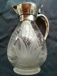 Victorian Martin Hall And Co Silver Plated And Etched Glass Claret Jug