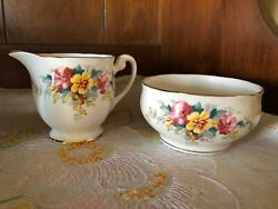 Floral Creamer And Sugar Bowl Clarence Bone China Made In England
