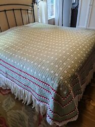 Judi Boisson Mini Star Red Sage White King Size Quilt 1995 Hand Quilted