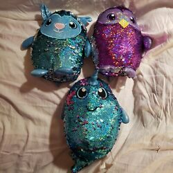 Shimmer Sequin Owl, Narwhal And Lamb Reversible Stuffed Animal Shimmeez Lot Of 3