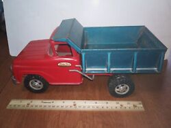 Vintage Late 50and039s Early 60and039s Pat Pending Tonka Toy 13 Dump Truck Red And Blue