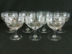 7 Antique Thomas Webb Optic Crystal Etched Swag Floral Crystal Compotes Goblets
