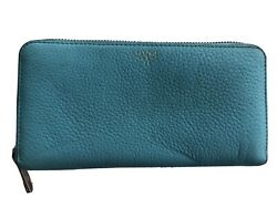 Fossil Leather Envelope Wallet Aqua Blue Pebbled Zip Around Continental Clutch $20.00