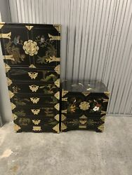 Asian Oriental Chinese Wooden Black Lacquer Cabinet Dresser Chest Set