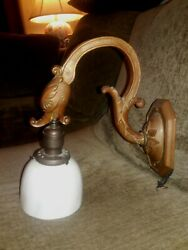 Antique Bronze Lamp Stylized Dolphin And Shade, Early 1900s, Neuveau