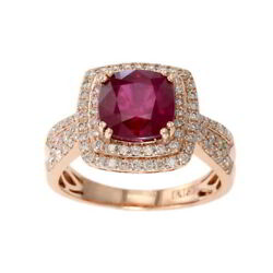 1/2 Ct Ruby And Simulated Round Diamond In Ring 14k Rose Gold