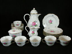 Meissen Pink Rose Embossed Coffee/tea Set For 6 W/ Desert Plates And Coffee Pot