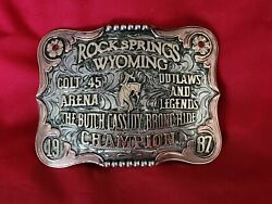 Rodeo Trophy Buckle☆1987☆ Rock Springs Wyoming Bronc Riding Champion Vintage 738