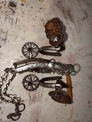 Antique Mexican Charro Spurs And Matching Bit With Piteado Leathers