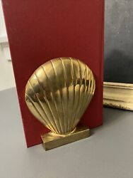 Solid Brass Clam Shell Bookends