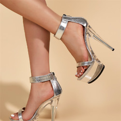 Women Platform Sandals Super High Heels 15cm Silver Stiletto Party Wedding Shoes