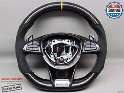Mercedes E63 Sl65 C63 A45 Gls63 Amg Gt Cls63 Yellow 5mm Carbon Steering Wheel V1
