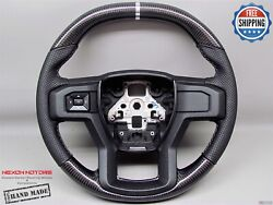 Ford Raptor F150 17-19 Flat Top Bottom 8 Chrome Perforated Carbon Steering Wheel