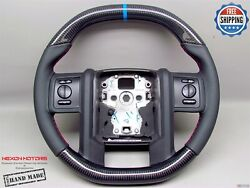 Ford F350 F450 F550 Flat Top Flat Bottom 8 Blue Ring Thick Carbon Steering Wheel