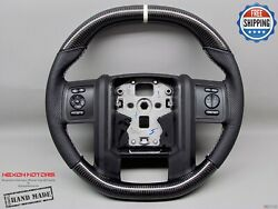 Ford F350 F450 F550 Flat Top Flat Bottom White Ring Thick Carbon Steering Wheel