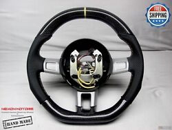 Ford Gt40 Flat Top Bottom 5mm Yellow Ring Perforated Thick Carbon Steering Wheel