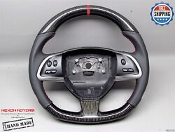 Jaguar Xkr-s Gt Xfr-s Xkr 5red Ring Napa Flat Bottom Thick Carbon Steering Wheel