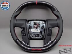 Ford Raptor F150 10-14 Flat Top Bottom 8mm Red Perforated Carbon Steering Wheel