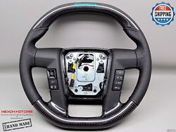 Ford Raptor F150 10-14 Flat Top Bottom Turquoise Logo Perf Carbon Steering Wheel