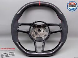 Porsche 991 Macan Cayman Cayenne Panamera 5red Alcantra Carbon Steering Wheel V1