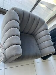 🍇high End Grey Contemporary Barrel Accent Side Armchair Chair