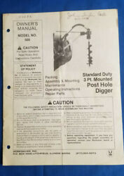 1991 Standard Duty 3 Point Mounted Post Hole Digger Ownerand039s Manual By Worksaver