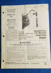1991 Standard Duty 3 Point Mounted Post Hole Digger Owner's Manual By Worksaver