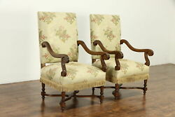 Pair Of Antique Hand Carved Oak French Chairs, Tapestry With Fringe 36893