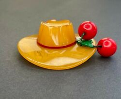 1930s Bakelite Butterscotch Mexican Hat Brooch Pin W/ Cherries And Green Leaf 3