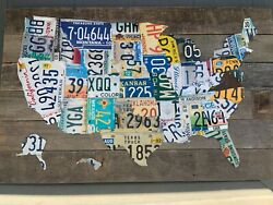 Extra Large Authentic Usa License Plate Map