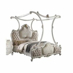 Eastern King Bed W/canopy Fabric And Antique Pearl