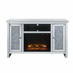 Tv Stand W/fireplace, Mirrored And Faux Diamonds