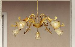 Suspended Lights Classic Metal And Glass Satin Gold