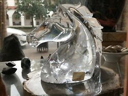 Large Carved Crystal Horse Head Huge Unique Display Piece Quartz Must See Racing