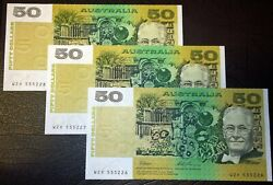 1993 Australia Fraser/evans 3 X Consecutive 50 Fifty Dollars Banknotes - Unc