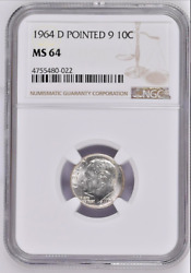 1964 D Ngc Dime Pointed 9 10 C Dd0 Ms 64