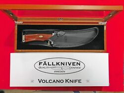 New Fallkniven Volcano Hunter/fighter W/cocobolo Wood And Wood/glass Display Box.