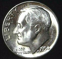 1954-p 10c Roosevelt Dime Bu 90 Silver 21ocw0127-4 70 Cents Shipping