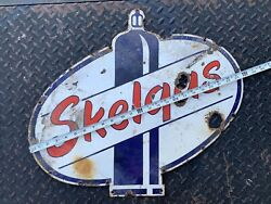 Vintage Skelly Gasoline And Oil Porcelain Sign Skelgas Propane Nice Original