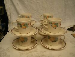 Lot Of 8 Corelle By Corning Abundance Cups And Saucers Sets Fruit Mugs Tea Coffee