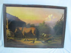 Framed American School 19th Century Horse And Calf Barnyard Oil Painting