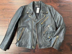 Rrl Brown Motorcycle Leather Marshall Jacket Men's Xxl 46-48