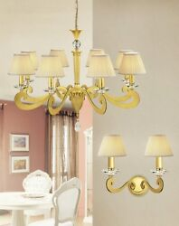 Suspended Lights Classic With Crystal Clear Gold Yellow Gold