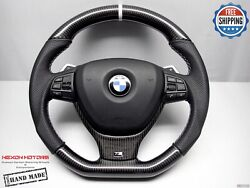 Bmw F10 M5 F12 F06 M6 650i 8 White Perforated Flat Bottom Carbon Steering Wheel