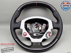 Ferrari F430 Perforated 3 Red Ring And Stitch Flat Thick Carbon Steering Wheel V1